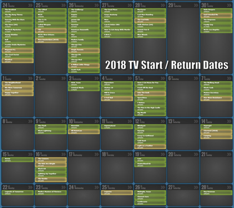 September 2019 TV Episode Calendar - Prime Time TV Show